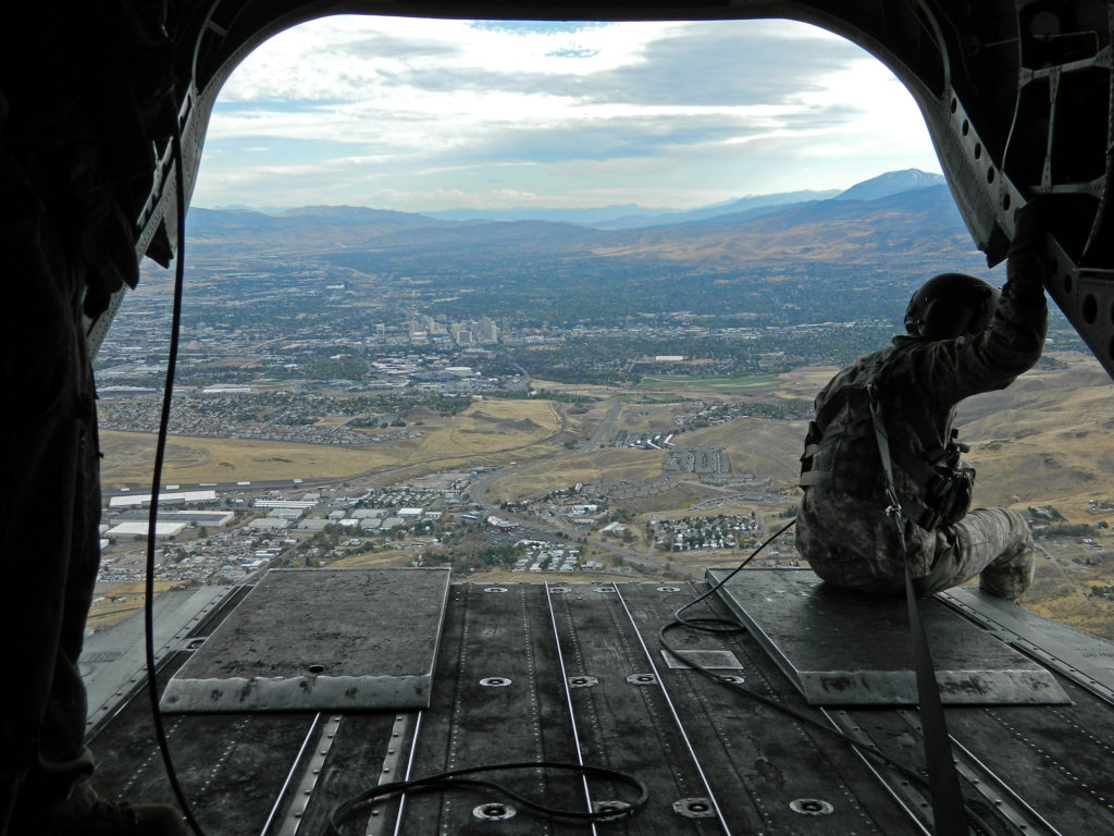 View from the ramp of a CH-47 Chinook from a Nevada Army National Guard unit flying over Reno, Nevada.